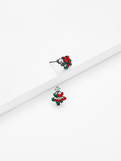 Christmas Two Tone Rhinestone Stud Earrings