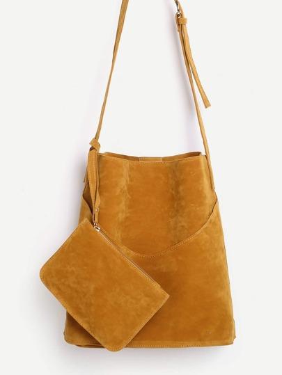 Suede Shoulder Bag With Wallet