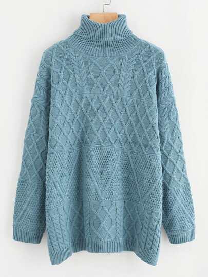 Side Slit Cable Knit Turtleneck Sweater