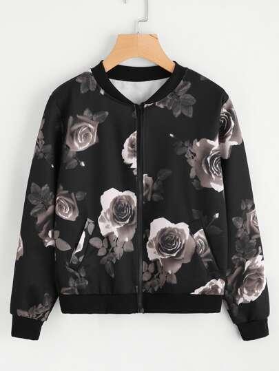 Random Floral Print Ribbed Trim jacket