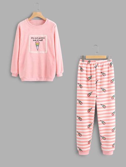 Conjunto de pijama con helado de rayas