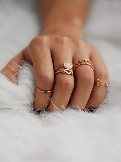 Set di anello con pietra preziosa