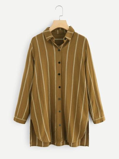 Dip Hem Split Side Striped Shirt Dress