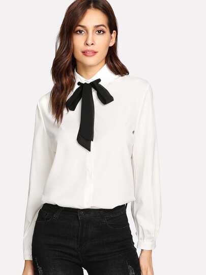 Contrast Tie Neck Shirt