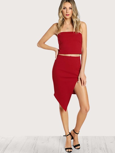 Conjunto de bandeau y falda con abertura