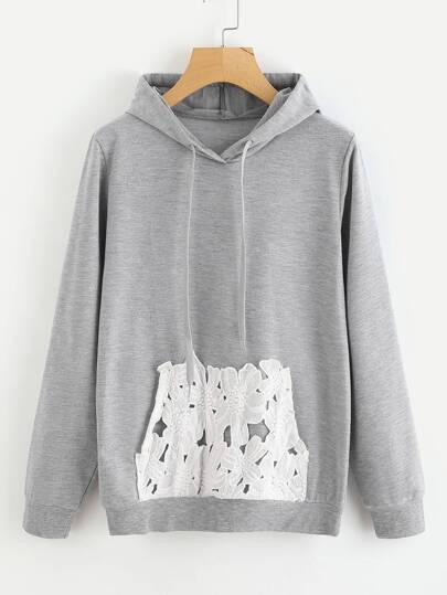 Heather Knit Hoodie With Contrast Lace Pocket
