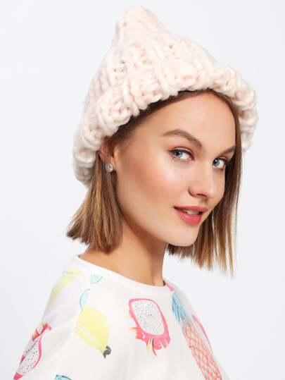 Bonnet en tricot à câble avec bord relevé