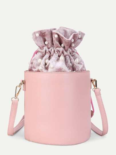 Faux Pearl Detail PU Bucket Bag