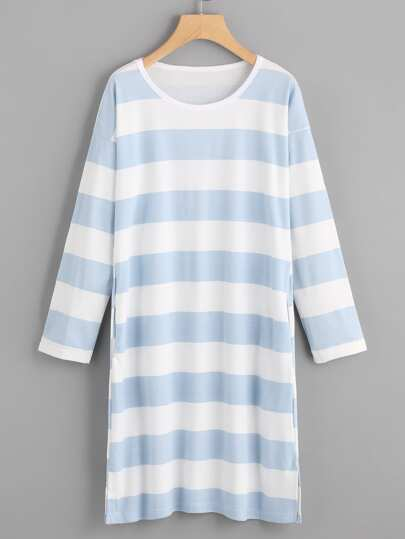 Striped Slit Sleep Dress