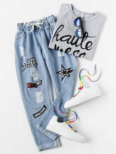 Ripped Cuffed Offset Printing Jeans