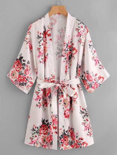 Flower Print Self Tie Robe