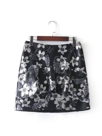Ruffle Detail Floral PU Skirt