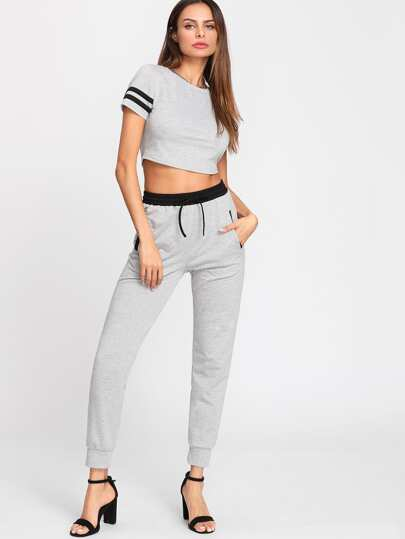Striped Sleeve Crop Top & Sweatpants Set