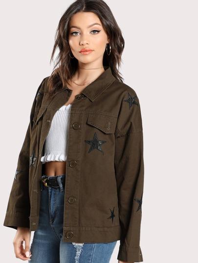 Jacke mit Stern Flicken und Tasche vorn