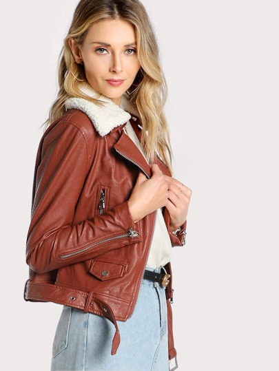 Faux Leather Wool Collared Jacket RUST