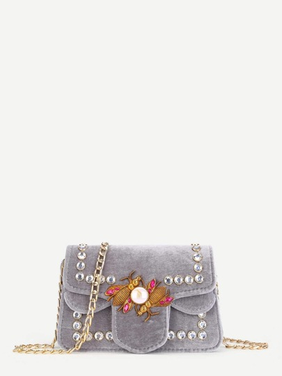 Velvet Flap Chain Bag With Jewelry