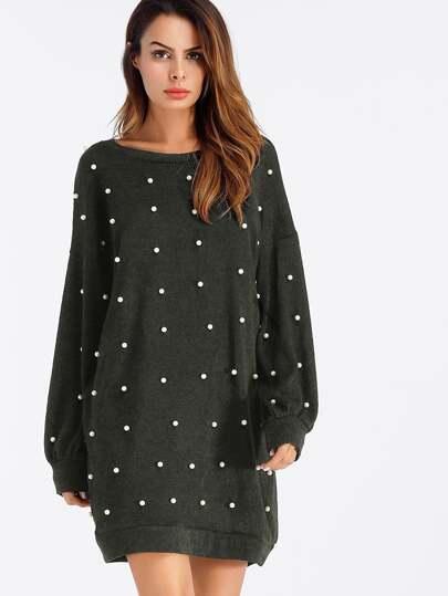 Pearl Beaded Drop Shoulder Sweater Dress