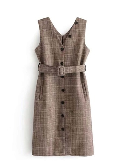 Plaid Vest Dress With Belt