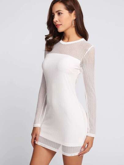 Eyelet Mesh Overlay Form Fitting Dress