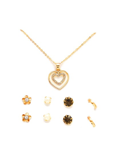 Layered Heart Pendant Necklace & Stud Earring Set
