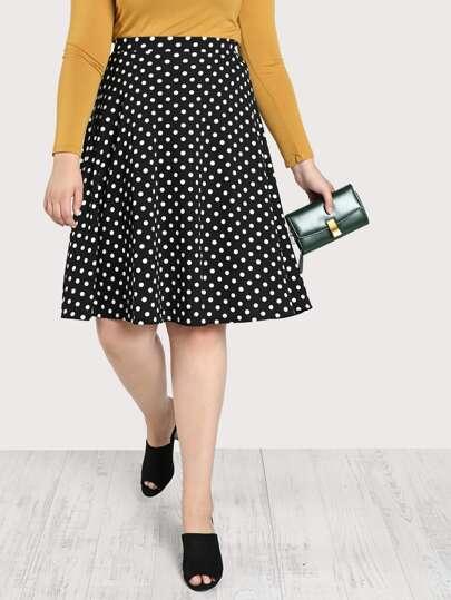 Polka Dot A Line Skirt