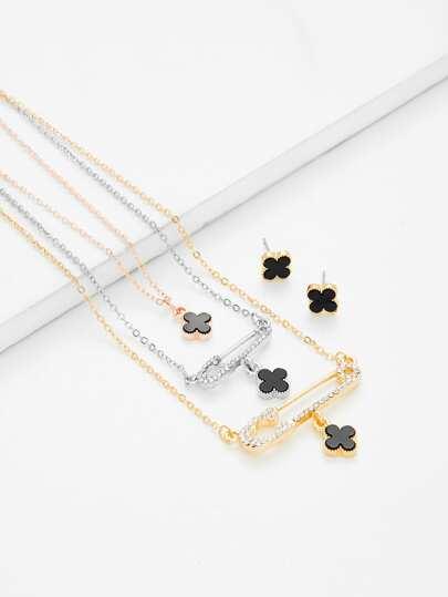 Flower Pendant Necklace & Earring Set