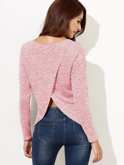 Crossover Back Marled Knit T-shirt