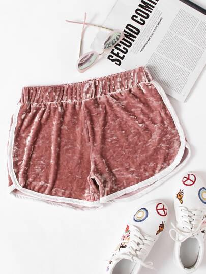 Shorts de terciopelo de cintura elástica ribete en contraste