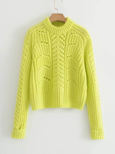 Raglan Sleeve Pointelle Sweater