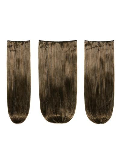 3 piezas de extensión de pelo recto marrón oscuro caramelo