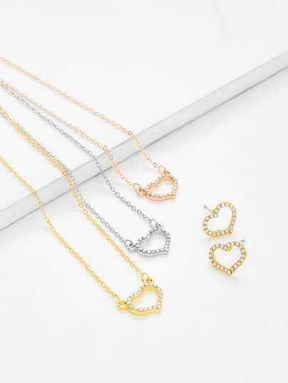 Set collar colgante de corazón de diamante de imitación & pendientes