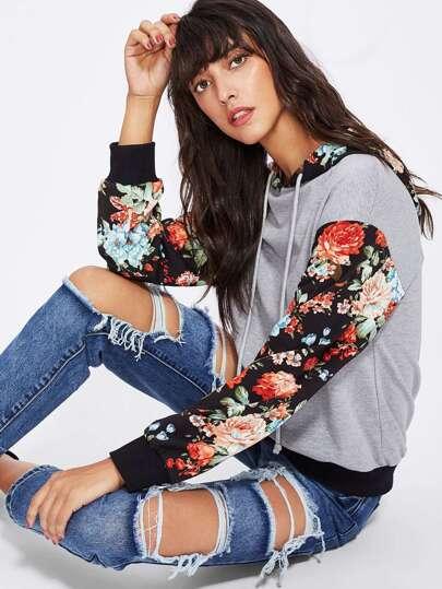 Sweat-shirt tricoté encapuchonné floral