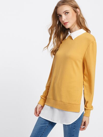 Contrast Collar Curved Hem 2 In 1 Pullover