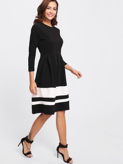 Contrast Striped Hem Dress