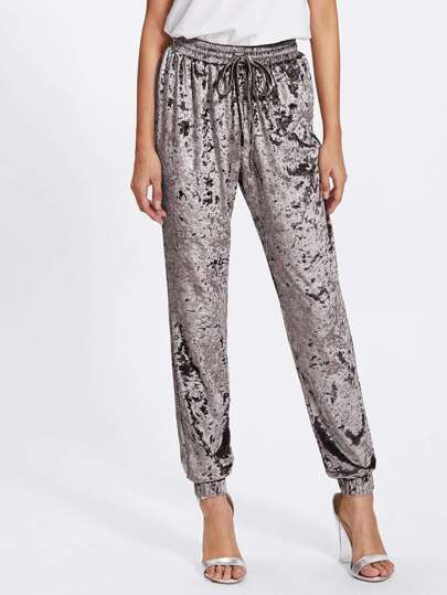 Shirred Waist Crushed Velvet Sweatpants