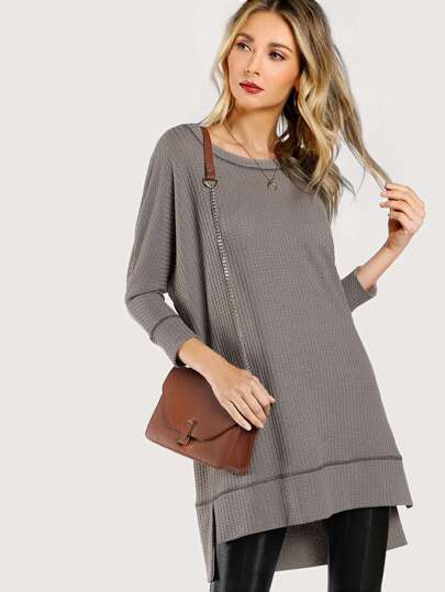 Slit Stepped Hem Cocoon Sweatshirt Dress