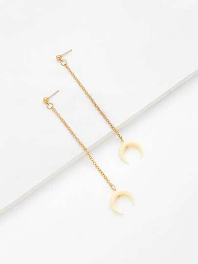 Horn Design Chain Drop Earrings