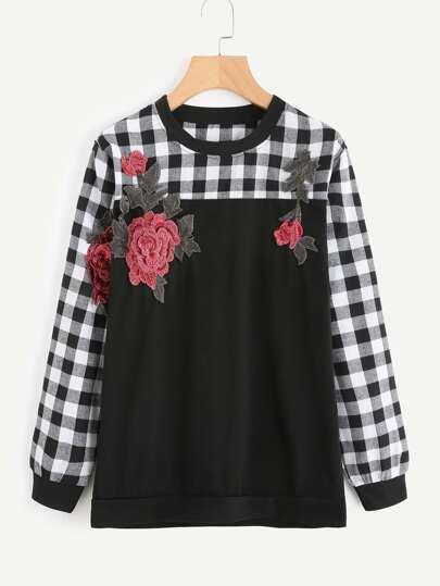 Contrast Checked Embroidered Appliques Sweatshirt
