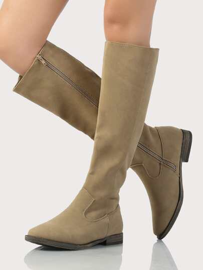 Plain Knee High Faux Leather Boots