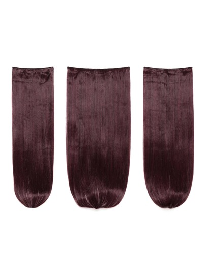 3 piezas de extensión de pelo recto negro borgoña