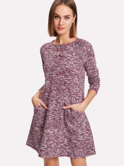 Strick Kleid mit Raglanärmeln