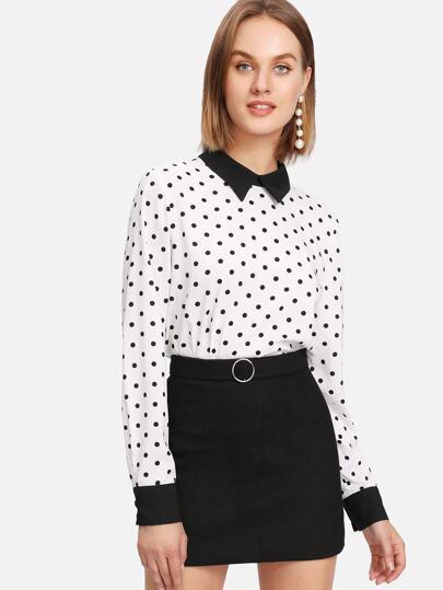 Contrast Collar Curved Hem Polka Dot Blouse