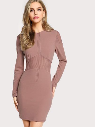 Stripe Mesh Insert Long Sleeve Dress DARK MAUVE
