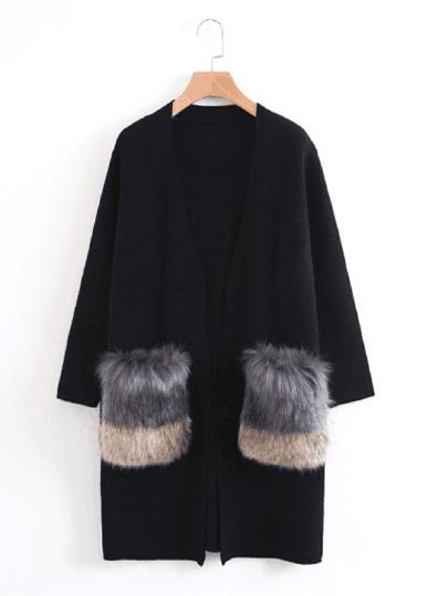 معطف صوفية نسائية-طويلة بجيب بفرو صناعي