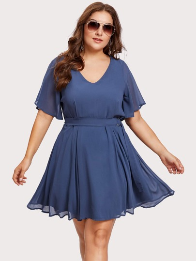 Flutter Sleeve O-Ring Belt Detail Dress