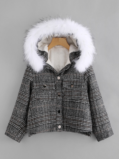 Contrast Fur Hooded Checked Coat
