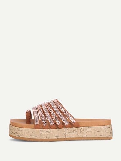 Sandalias con piedra de imitación con anillo de dedo