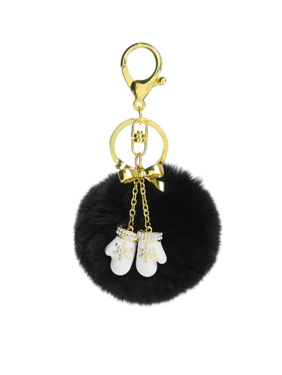 Christmas Rhinestone Gloves Design Keychain With Pom Pom