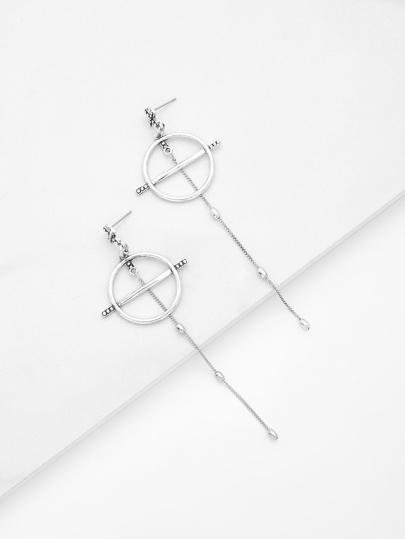 Ring & Chain Design Drop Earrings