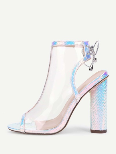 Peep Toe Block Heeled Clear Pumps